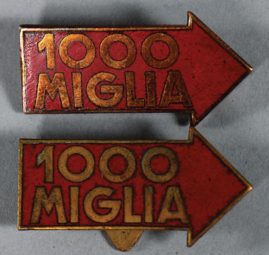 MILLE MIGLIA '50s, 2 brooches, 1x with pin, 1x for