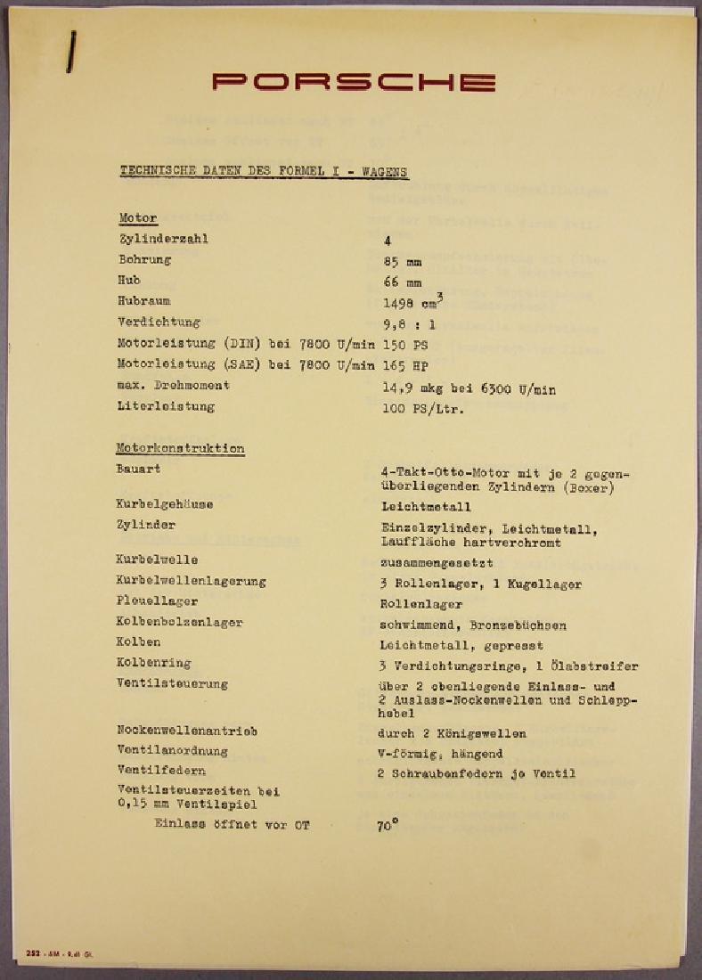 PORSCHE technical data sheet, original print of the