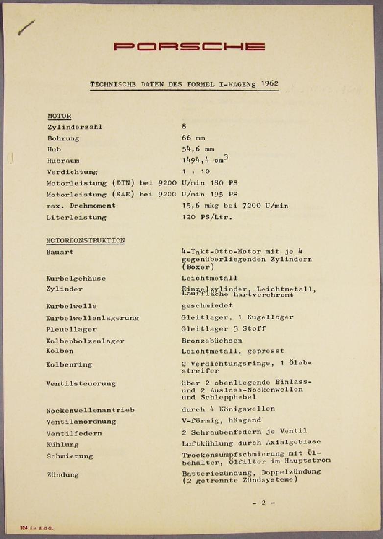 PORSCHE Original print technical data sheet of the