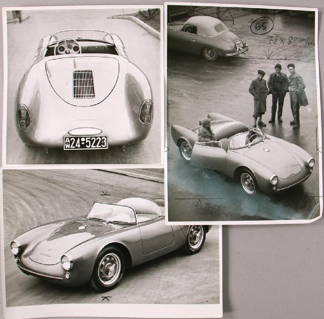 PORSCHE mixed lot of 3 original B/W photos Porsche 550