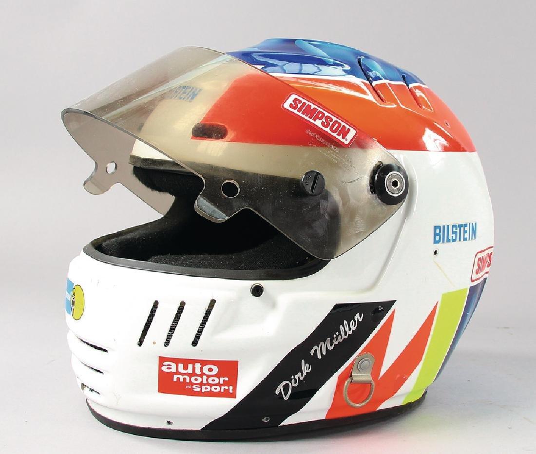 PORSCHE helmet of the racing driver Dirk Müller from Le
