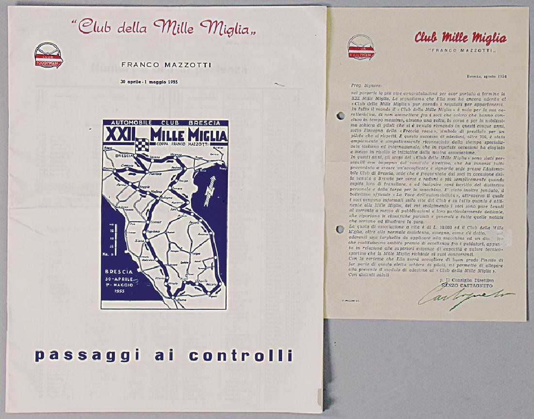 MILLE MIGLIA mixed lot with 2 pieces, No. 1: writing