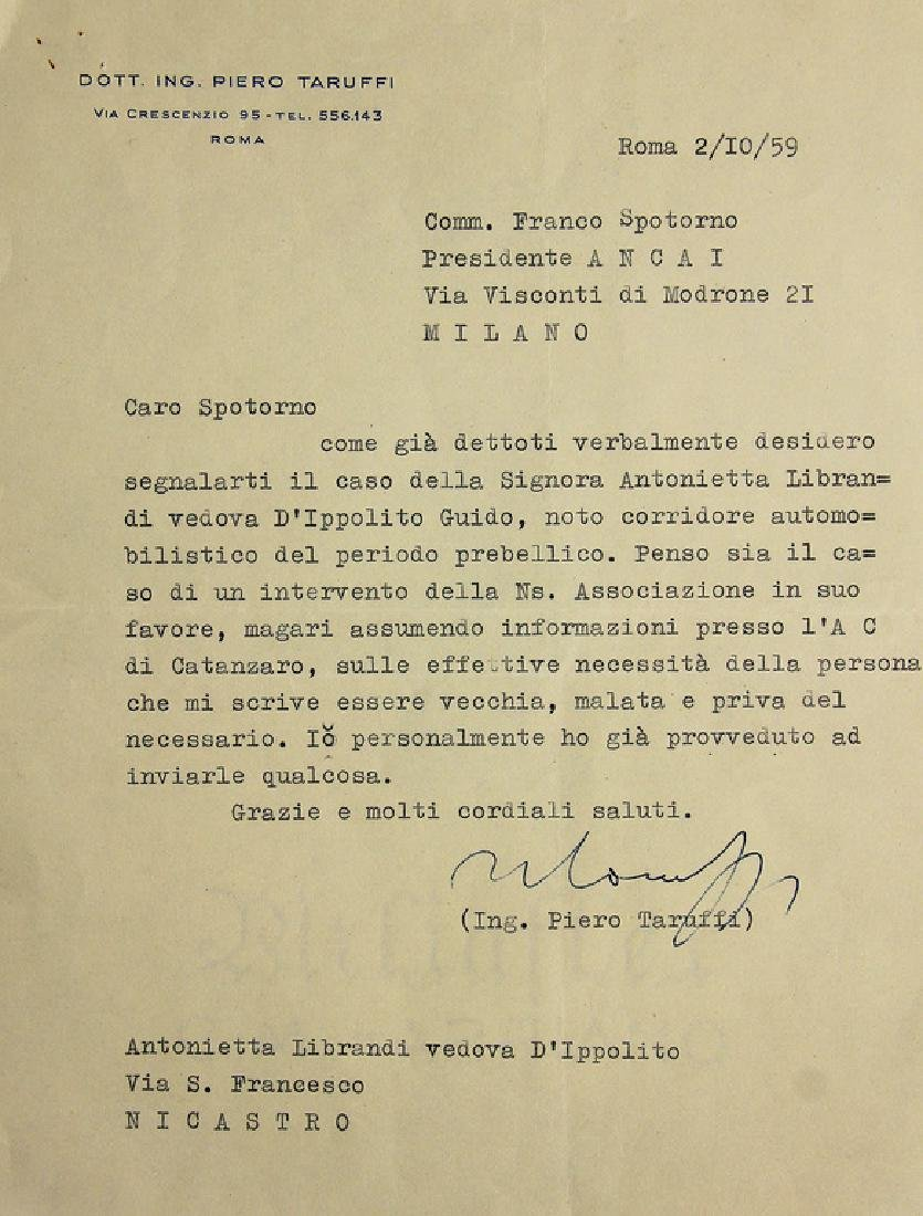 PIERO TARUFFI writings from October 2nd 1959,