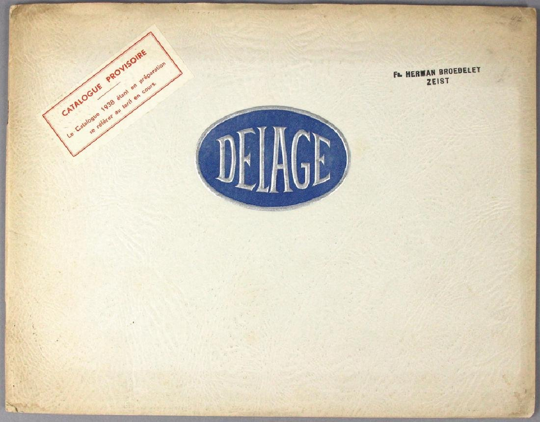 DELAGE 1938 sales catalog D8/D6/D1, 20 pages, loose