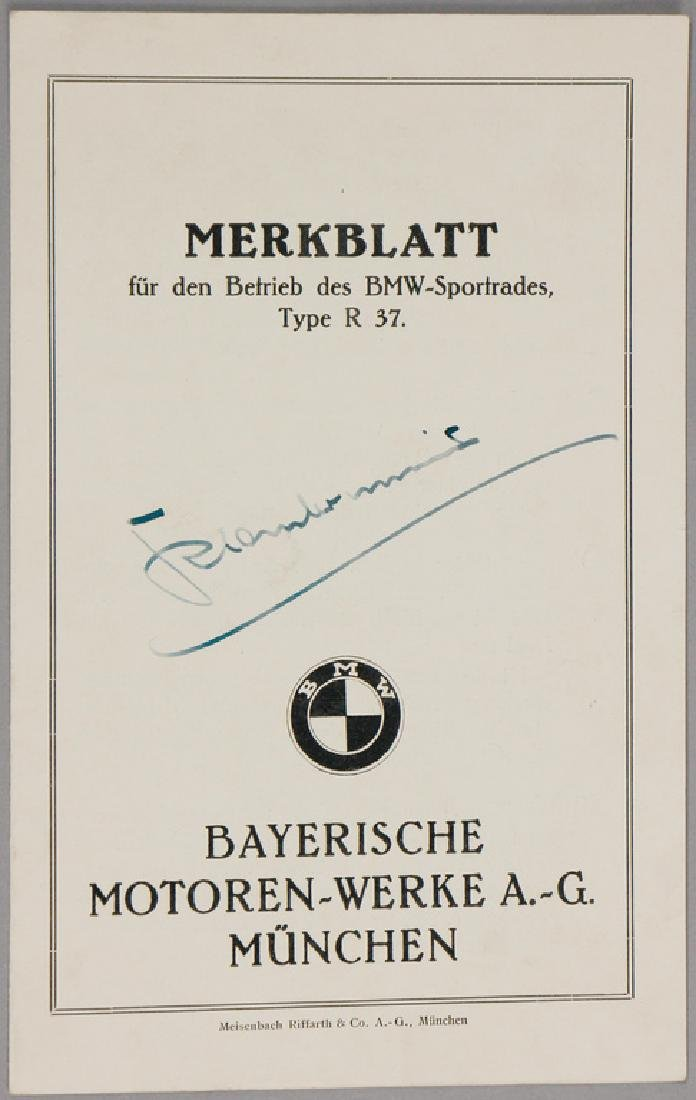 BMW Germany c. 1925, fact sheet for the operating of