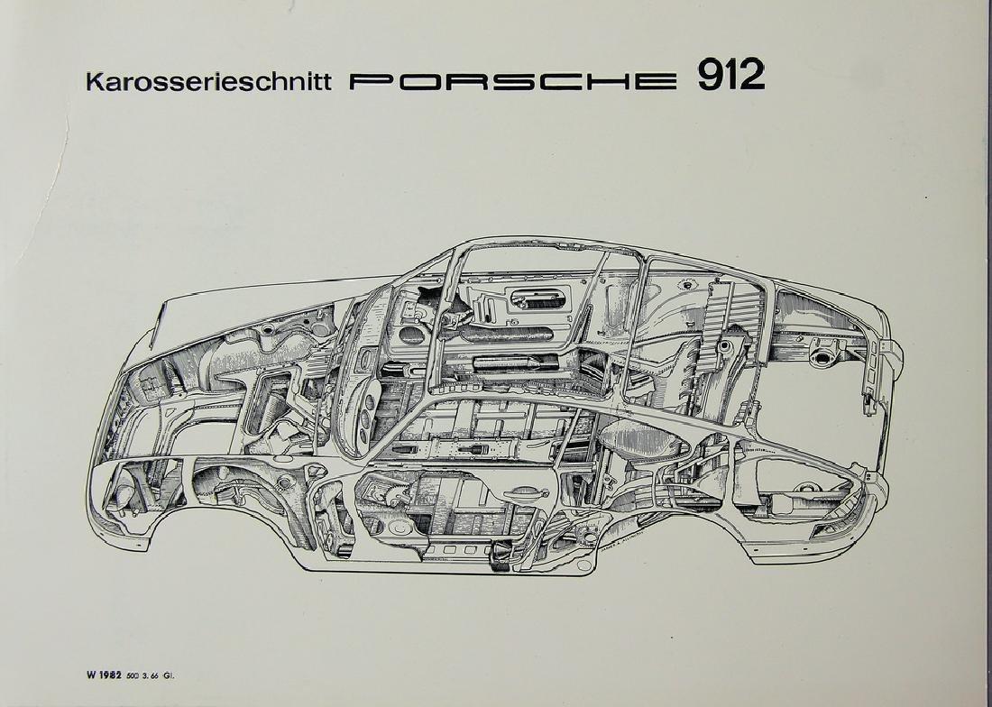 PORSCHE company photo with car body drawing, Porsche