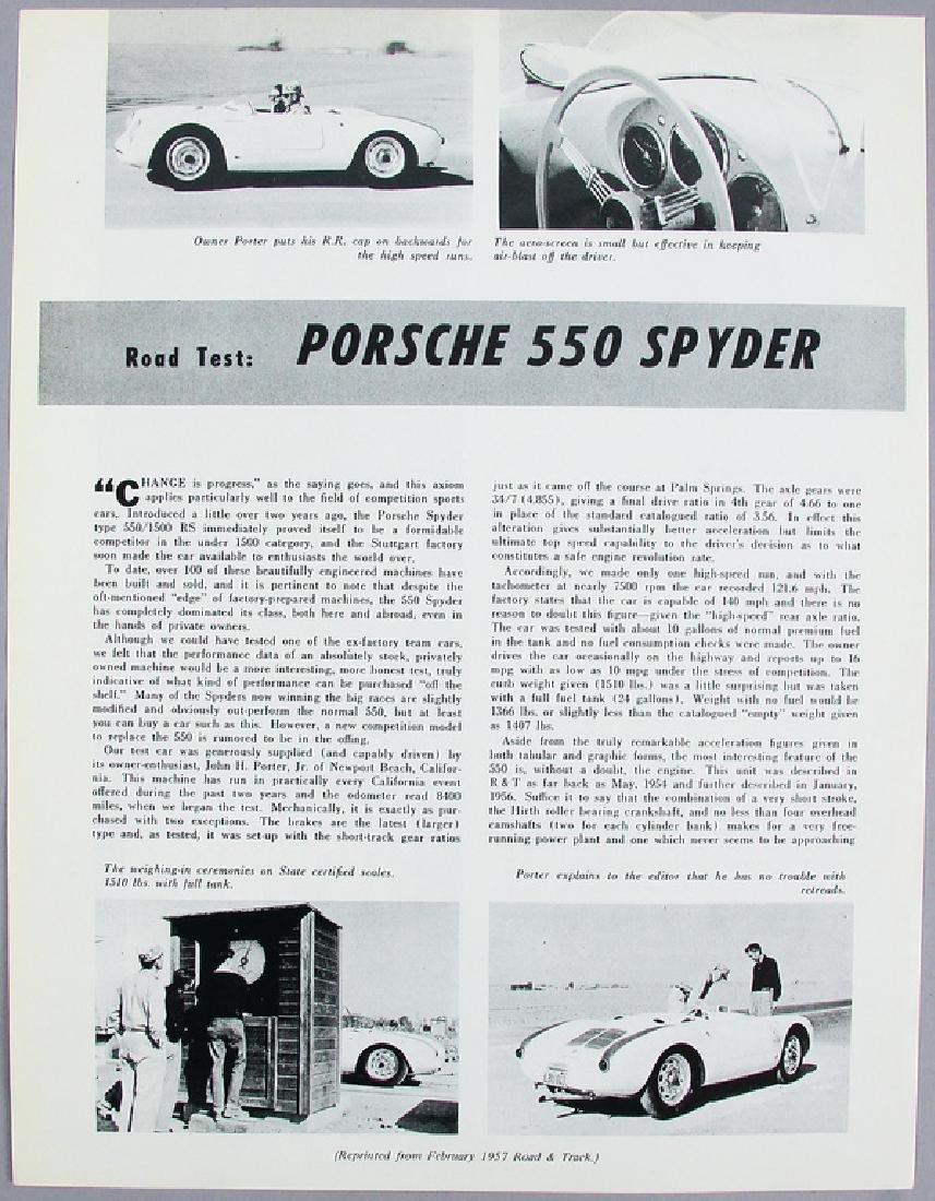 PORSCHE flyer special print Road Test Porsche 550