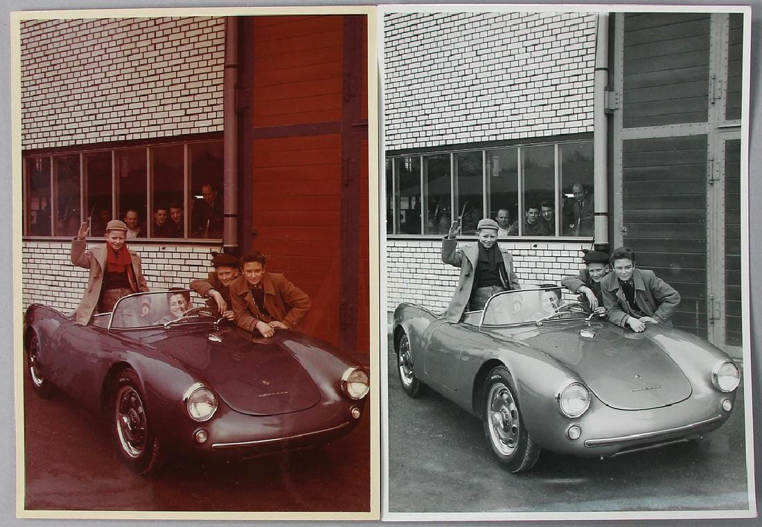 PORSCHE mixed lot with 2 original photos, 1x color