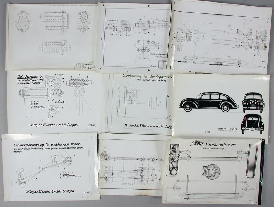 PORSCHE mixed lot with 10 original company photos with