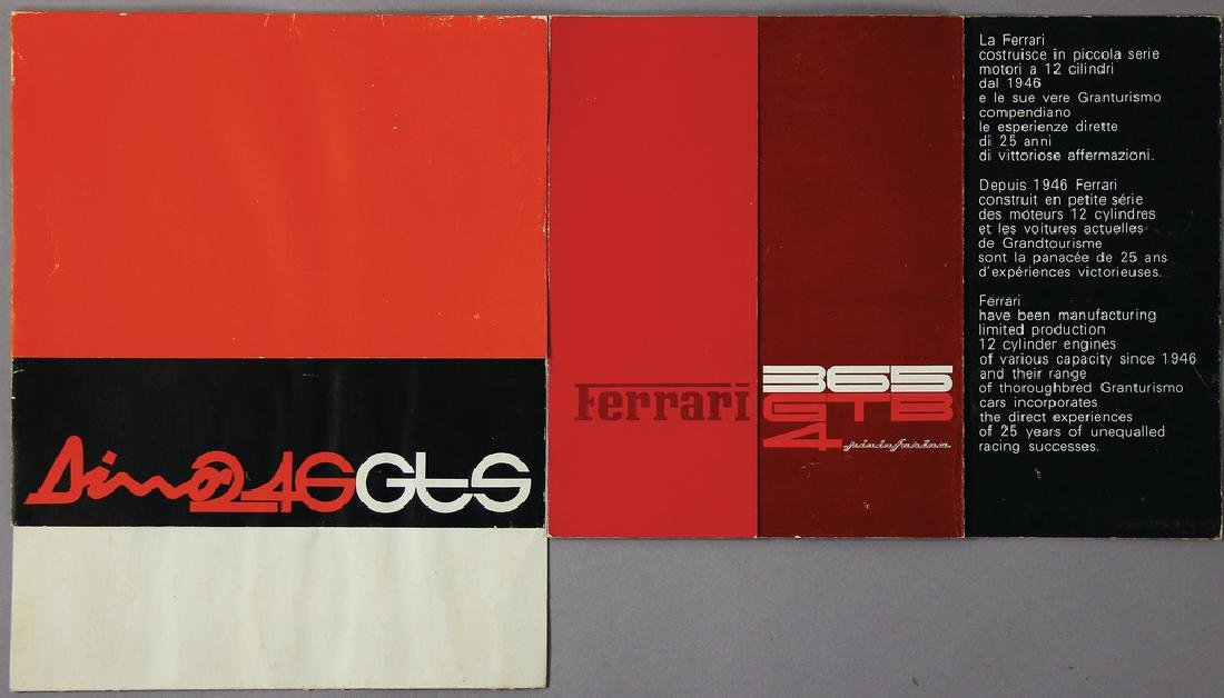 FERRARI mixed lot with 2 sales brochures, number 1