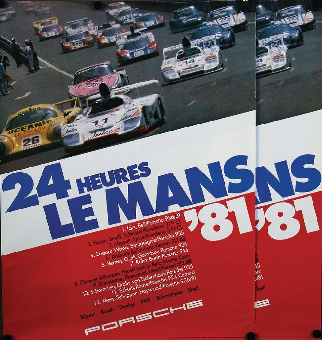 """PORSCHE 2 racing posters with the titles """"24 Heures Le"""