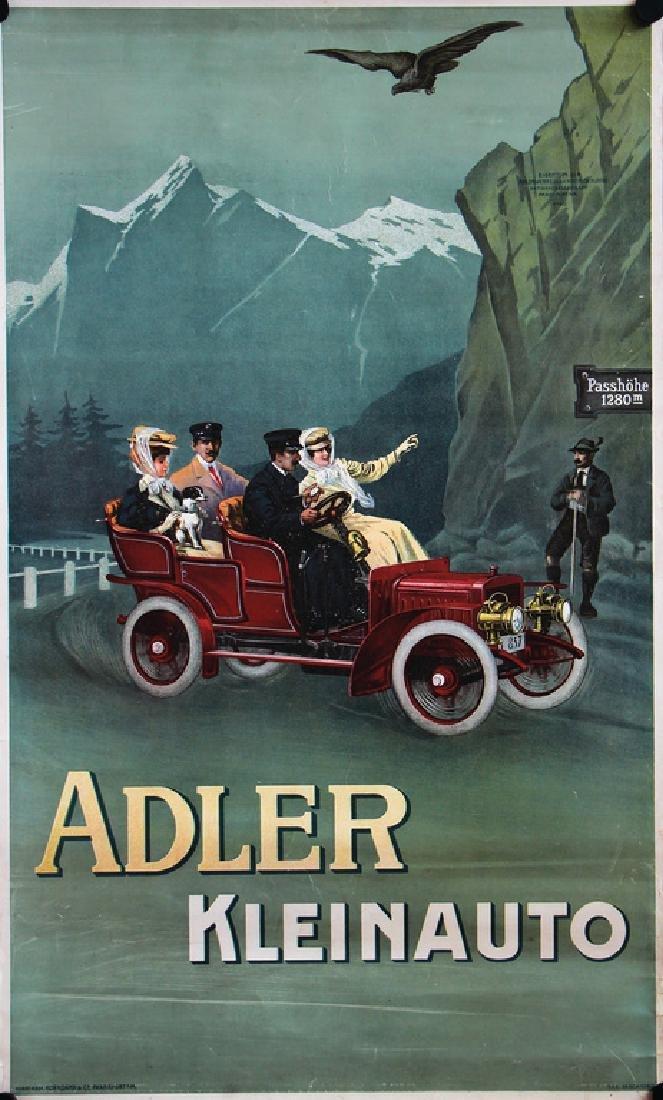 ADLER advertisement poster c. 1907, Adler small car
