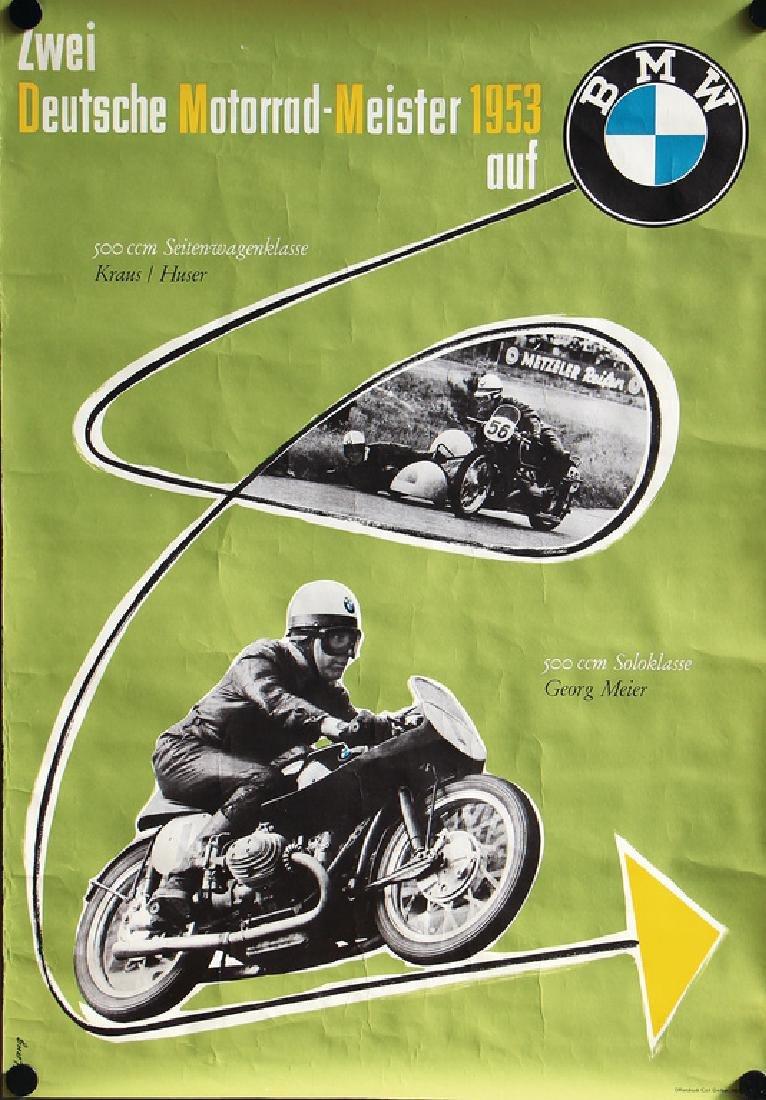 """BMW racing poster """"Zwei Deutsche Motorradmeister 1953"""""""