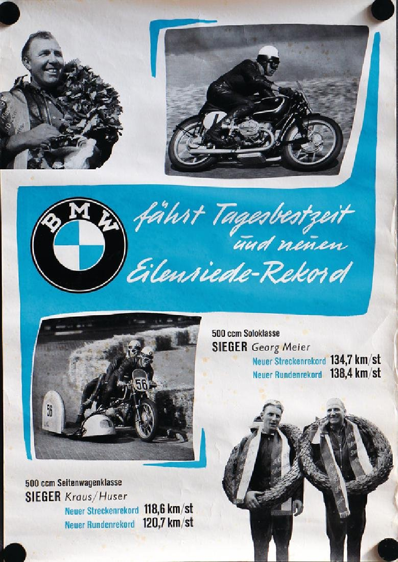 """BMW racing poster """"BMW fährt Tagesbestzeit und neuen"""