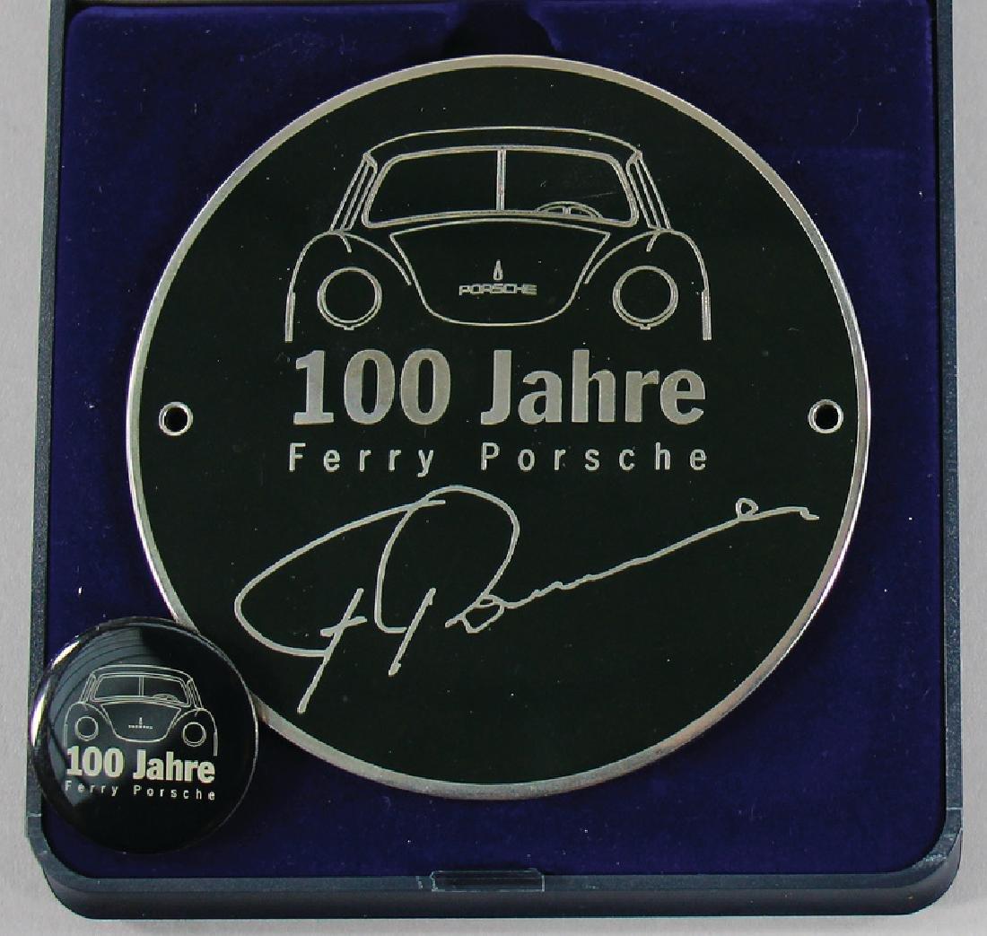 """PORSCHE badge """"100 Jahre Ferry Porsche"""" with pin, good"""