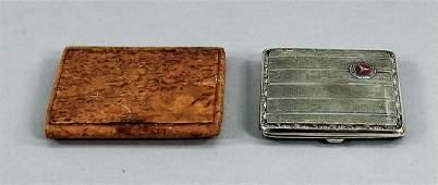 BENZ/MERCEDES-BENZ 2 cigarettes cases, 1x wood, 1x