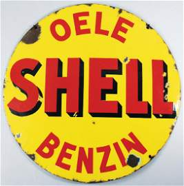 SHELL circular enamel sign Shell Oele/gasoline with
