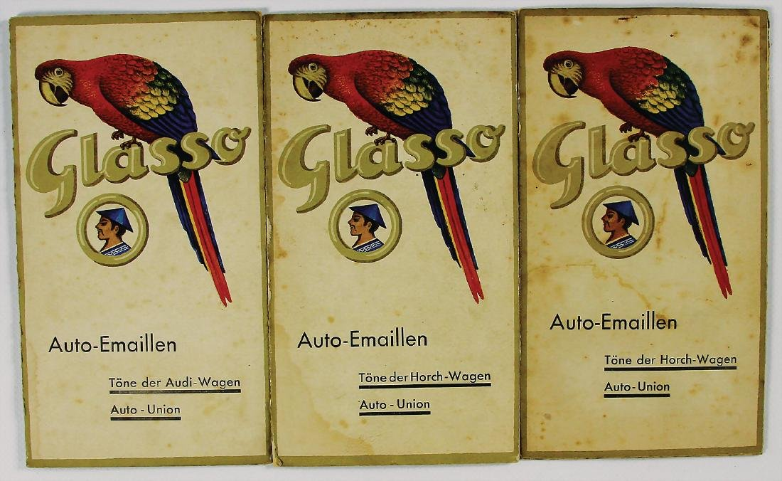 GLASURIT/HORCH mixed lot 3x color charts with all in