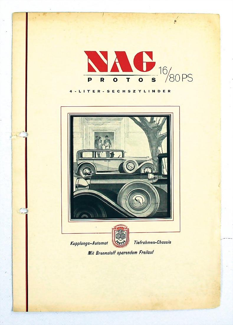 NAG sales brochure Protos 6 16/80 HP, 4 pages, punched,