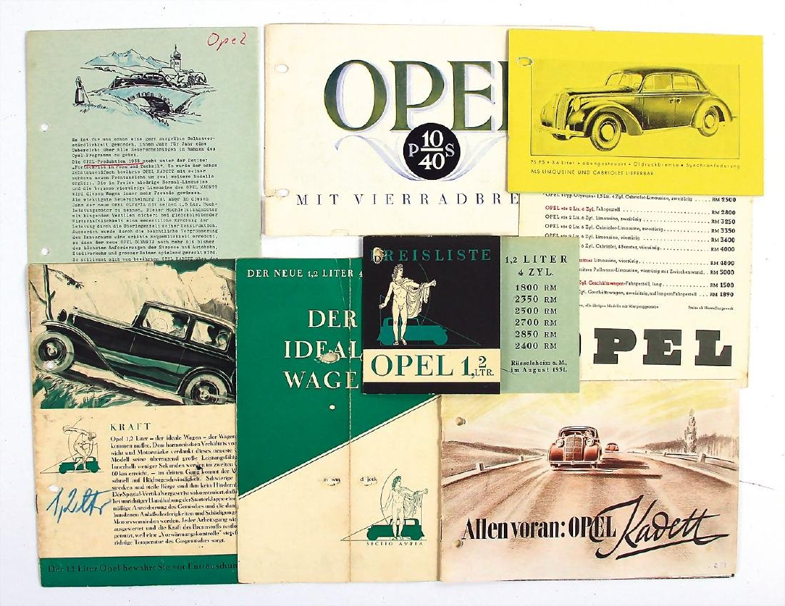OPEL mixed lot with 8 pieces, among it fold-out