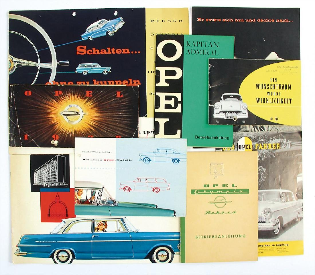 OPEL mixed lot with 9 pieces, among it sales catalog