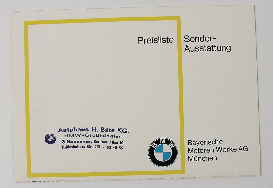 BMW price list/optional equipment 1968, very good