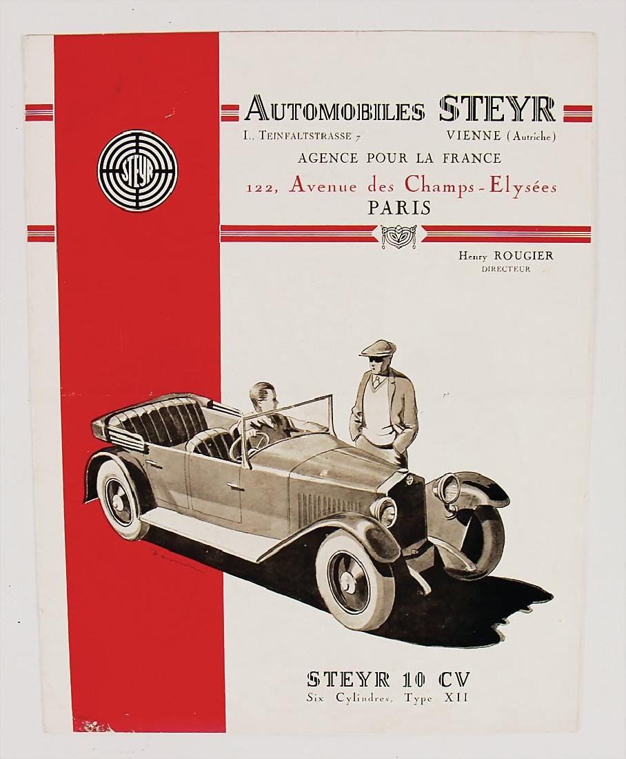 STEYR fold-out brochure, French text, Steyr 10 CV type