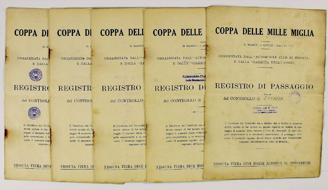 MILLE MIGLIA mixed lot of 5 documents for the stage