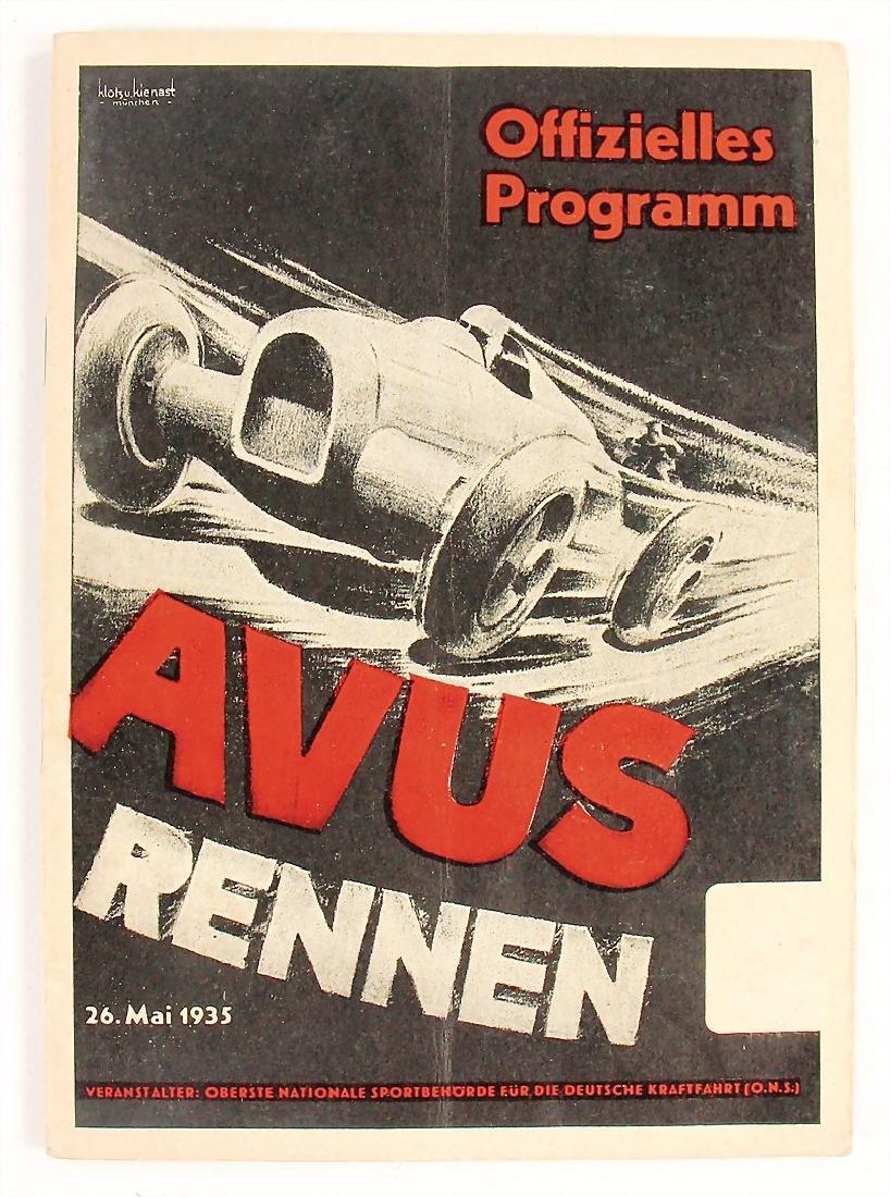 racing programme international Avus-race 1935, with