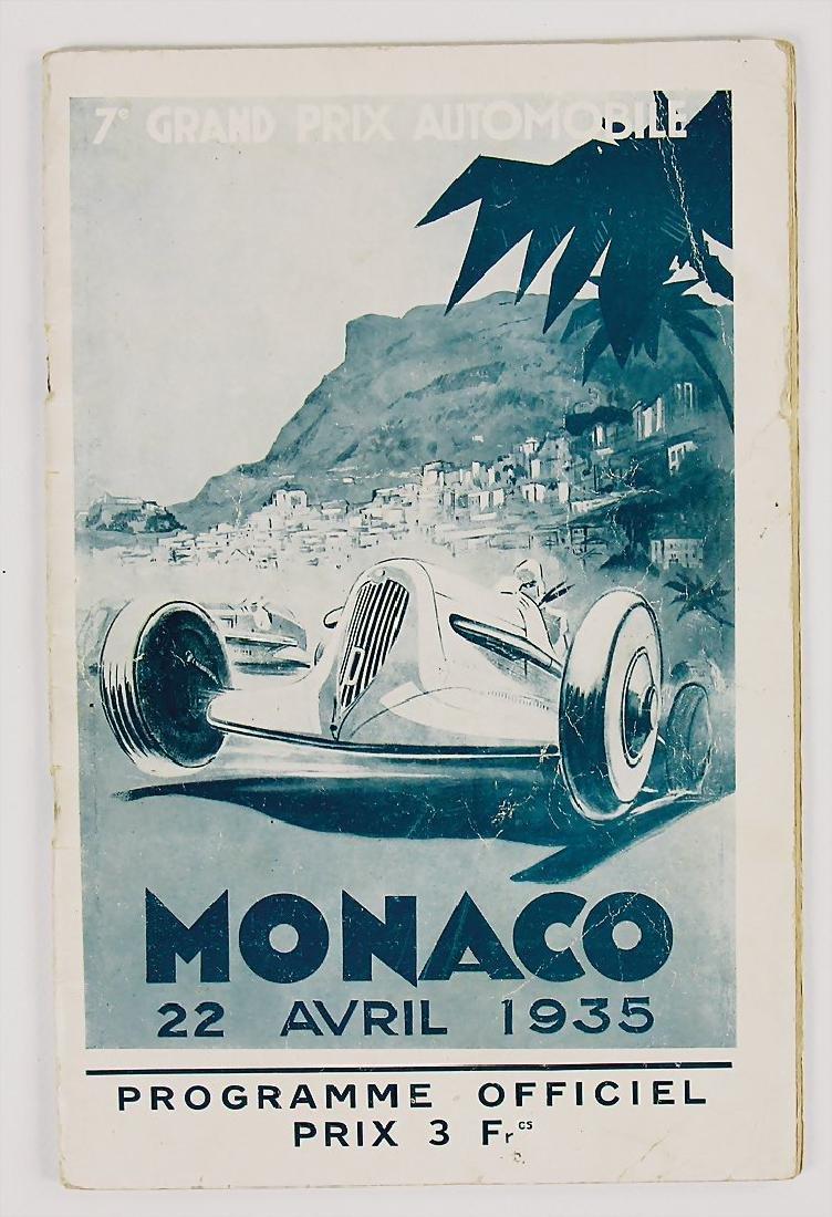 racing programme Grand Prix Automobile, Monaco, 1935,