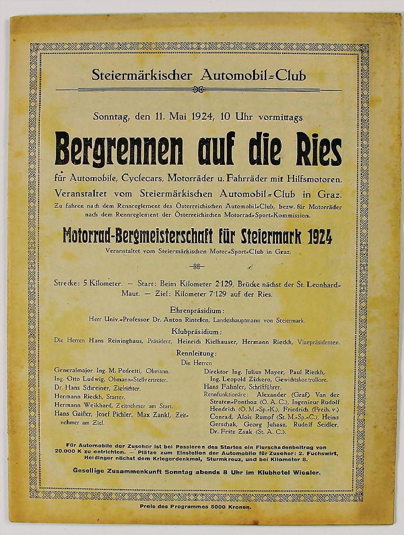 racing programme mountain race to the Ries, 1924,