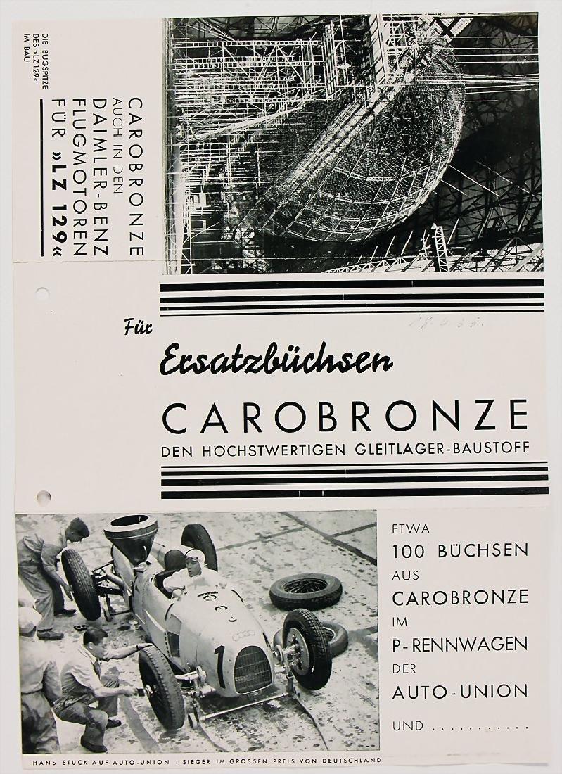 fold-out brochure Carobronze (for Ersatzbuchsen) 1935,