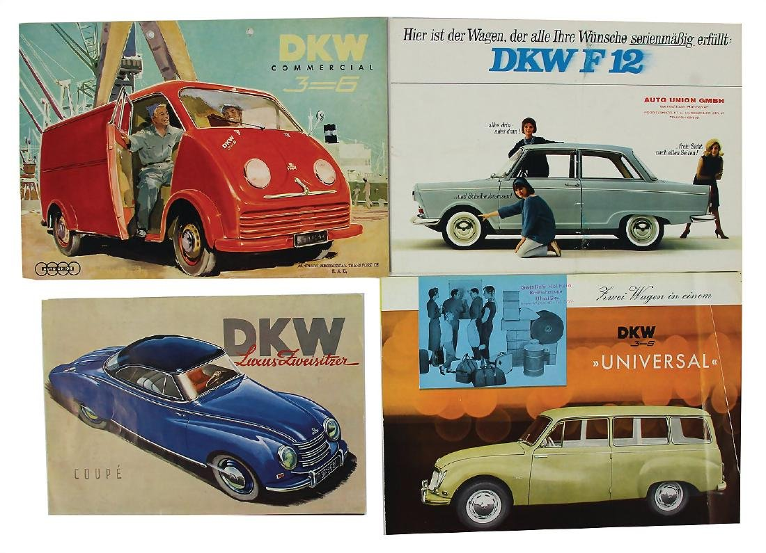 DKW mixed lot with 4 pieces, fold-out brochure DKW 3-6