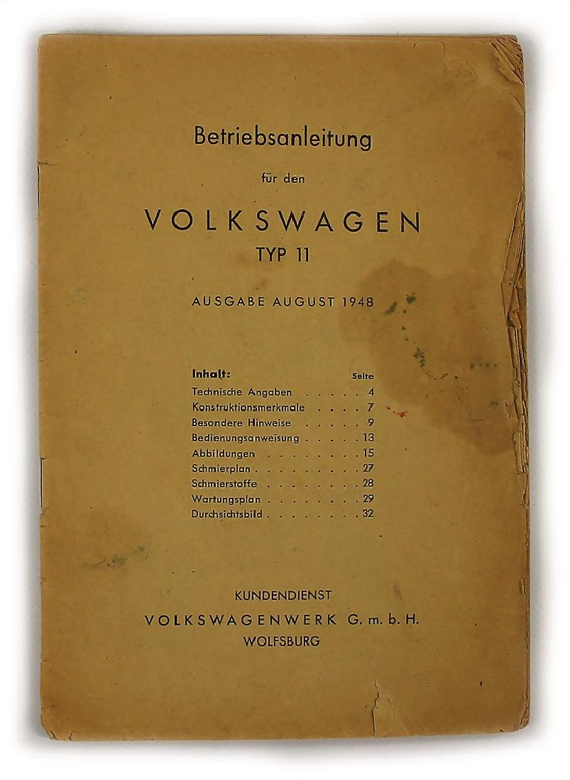 VOLKSWAGEN operating instruction for the Volkswagen