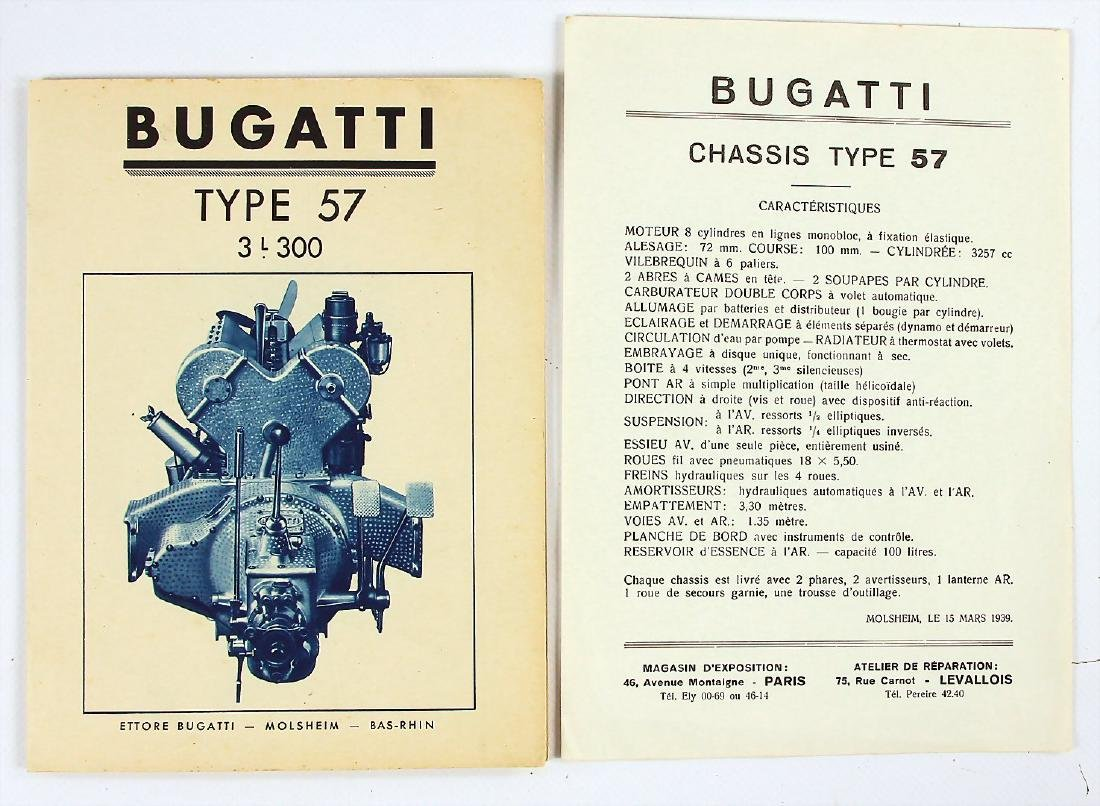 BUGATTI mixed lot with 3 pieces, No. 1: brochure