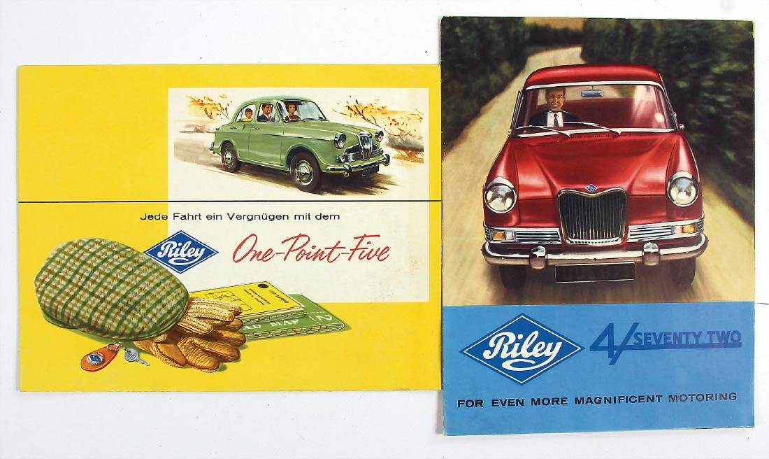 RILEY mixed lot with 2 pieces, fold-out brochure Riley