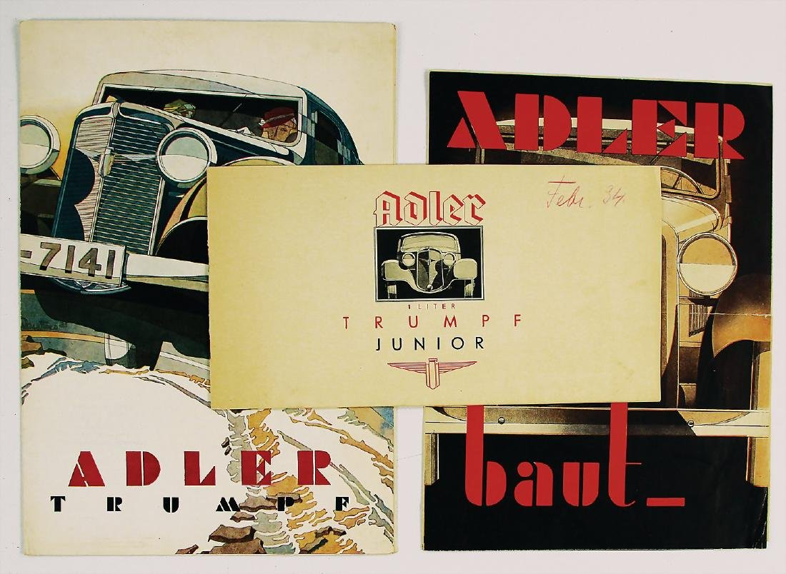 ADLER mixed lot with 3 pieces, sales brochures/folders,