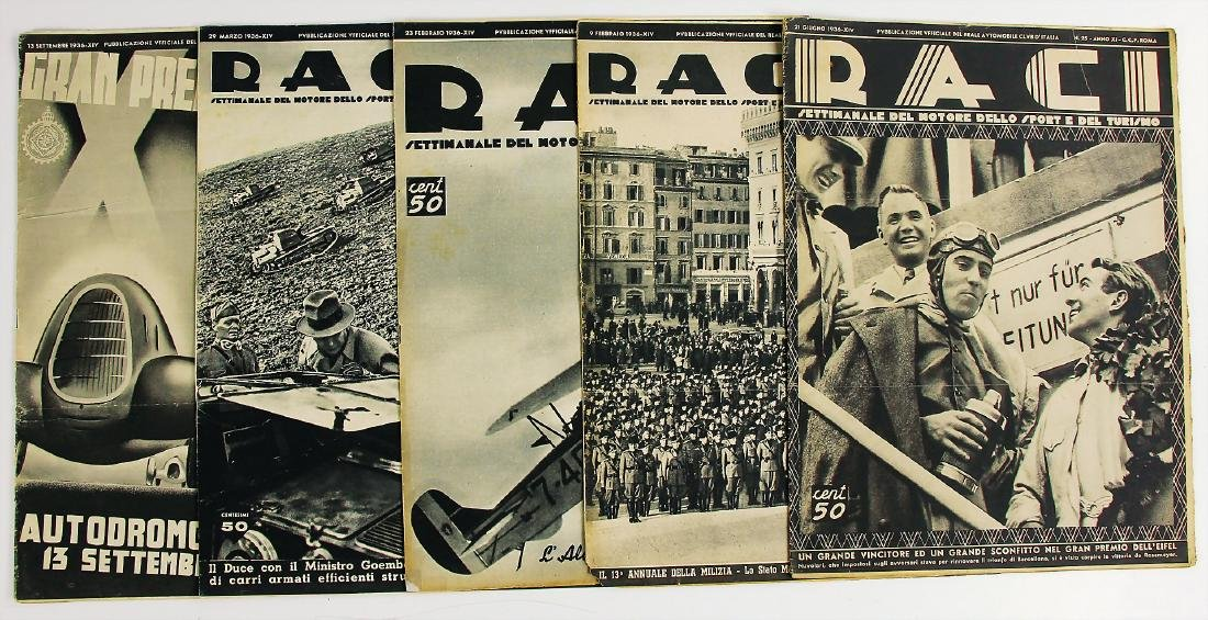 """R.A.C.I 1936, magazine """"RACI"""", among it the issues 6,"""