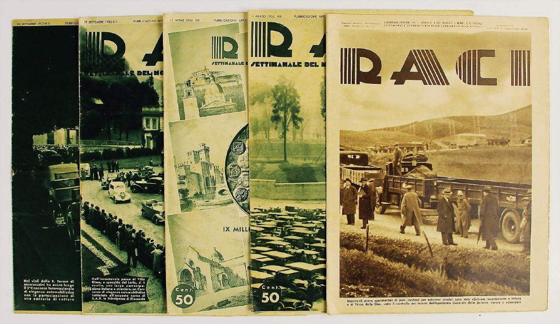 """R.A.C.I 1935, magazine """"RACI"""", among it the issues 1,"""