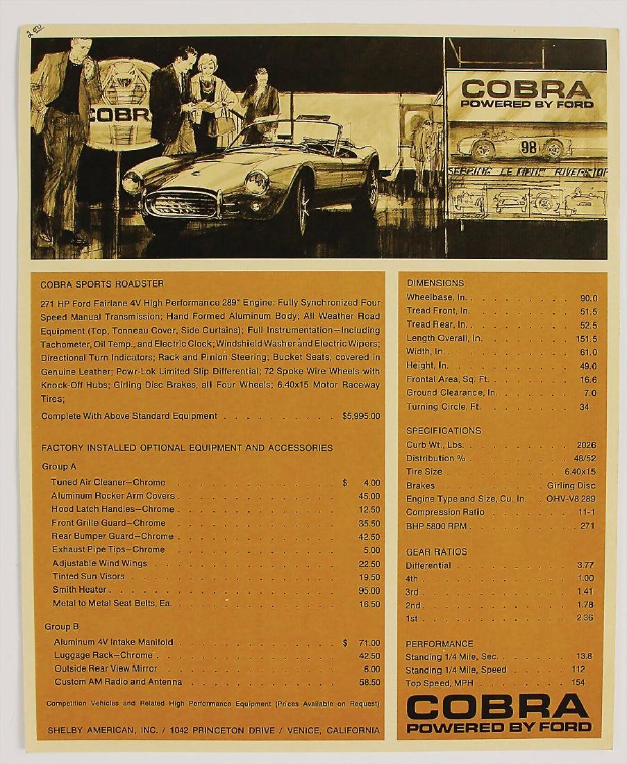 SHELBY flyer Shelby Cobra, with technical data, English