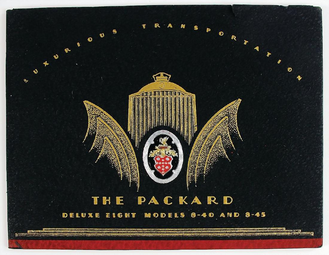 "PACKARD exclusive catalog ""The Packard de Luxe Eight,"