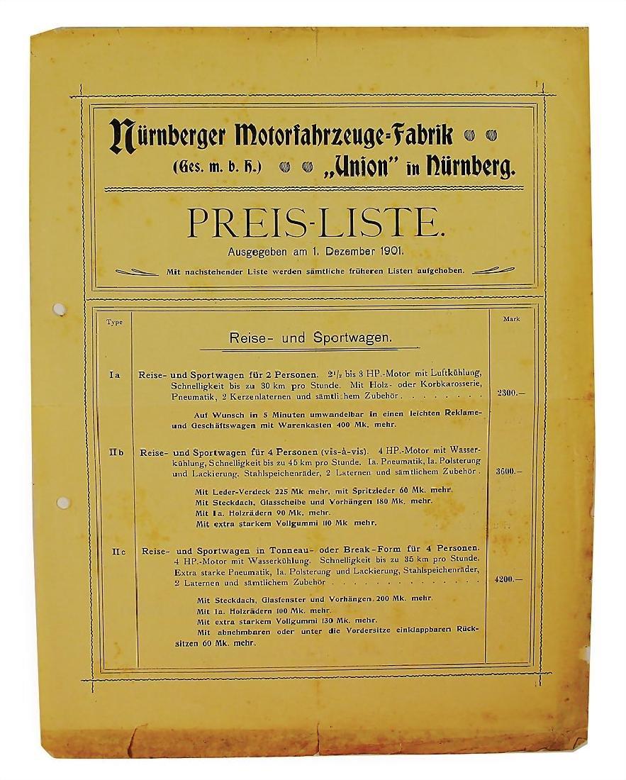NÜRNBERGER MOTORFAHRZEUGE-FABRIK price list, dated