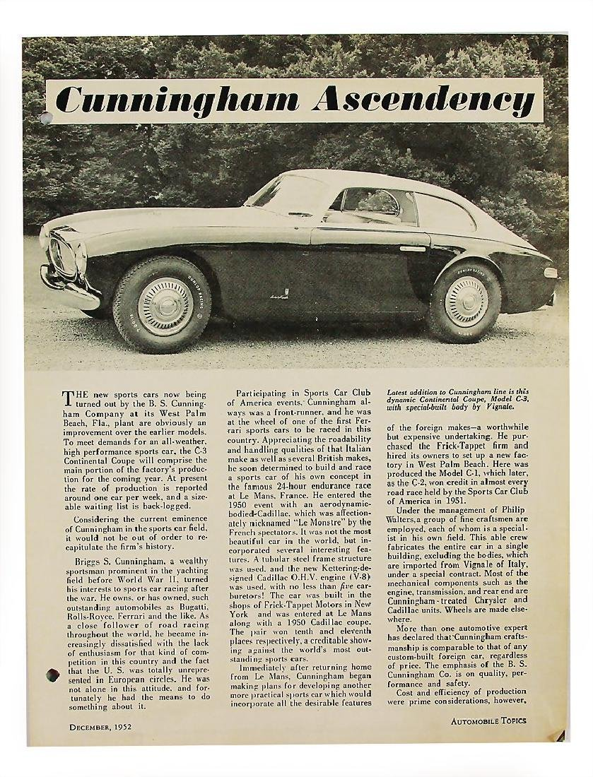 """CUNNINGHAM report from the magazine """"Automobile Topics"""""""