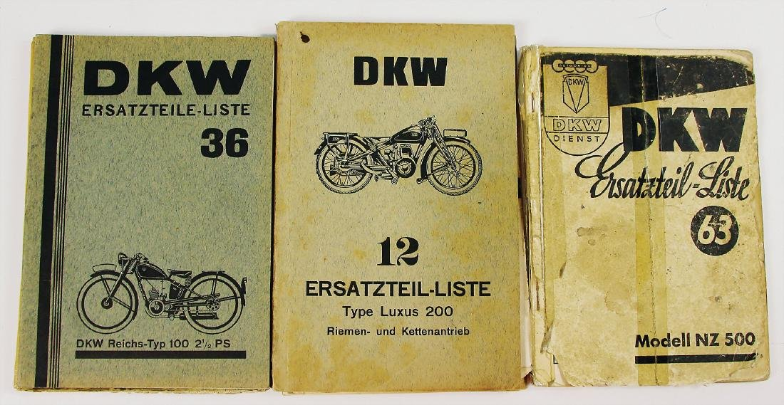 DKW mixed lot with 4 pieces, replacement parts lists,