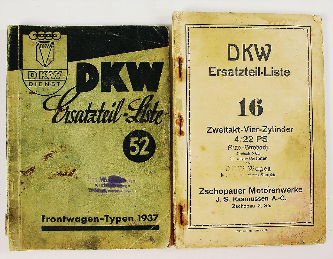 DKW mixed lot of 2 replacement parts lists, among it