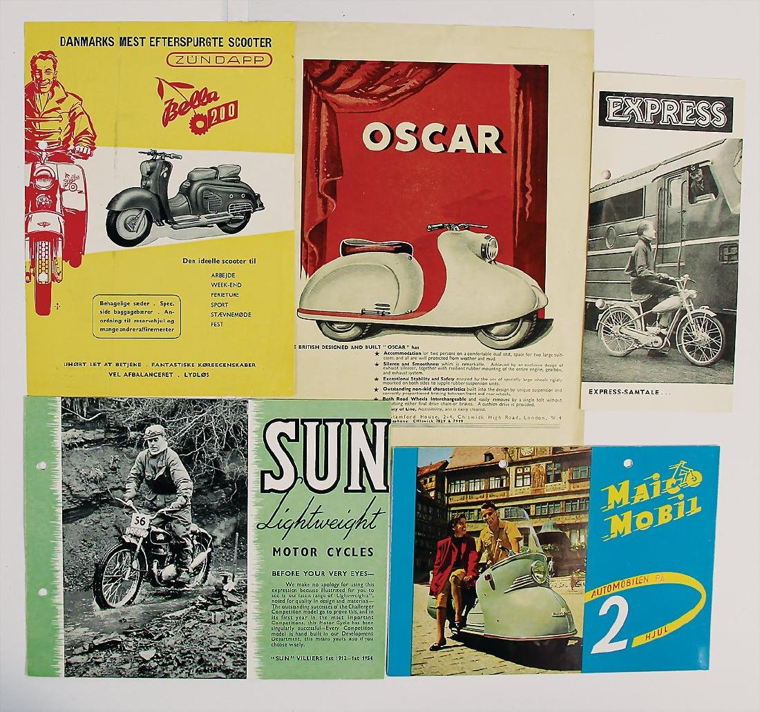 mixed lot with 5 pieces, sales brochures for different
