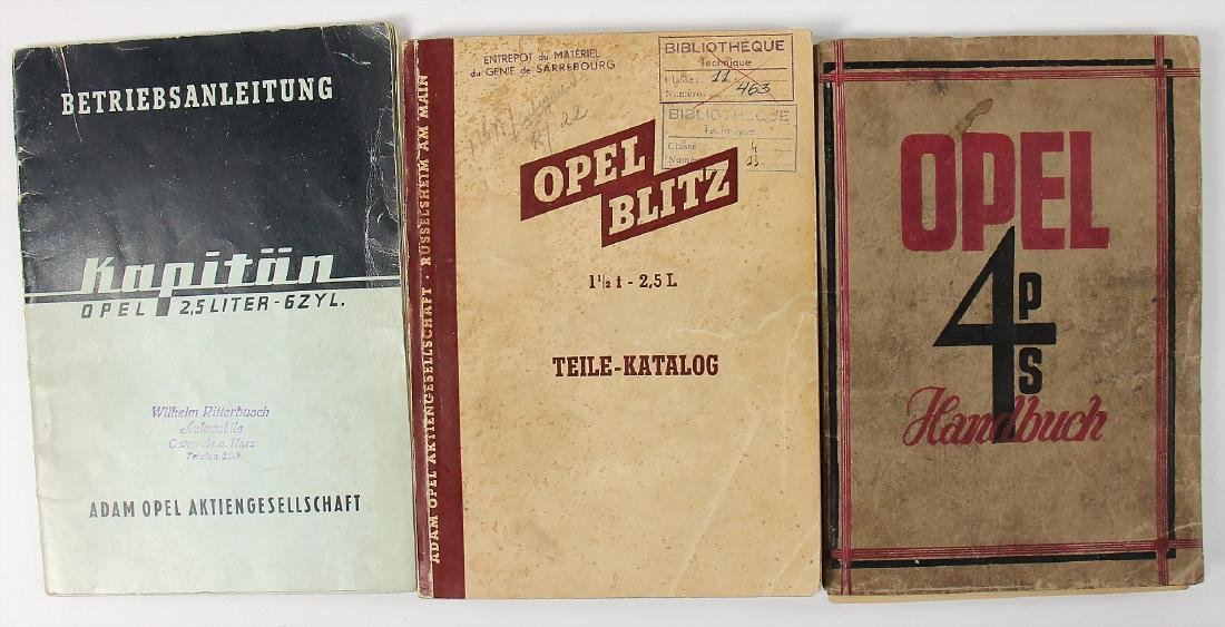 OPEL mixed lot with 3 pieces, No. 1: parts catalog type