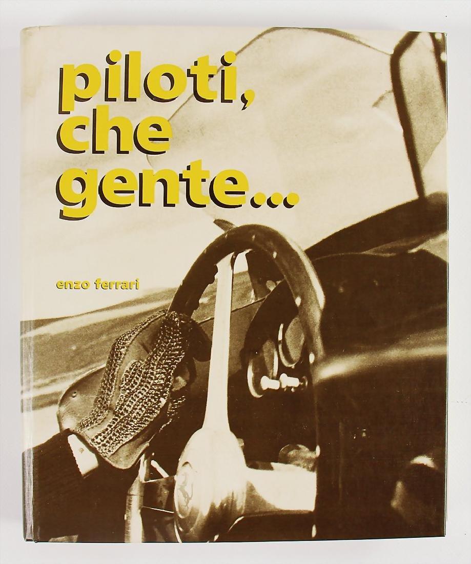 """book with the title """"Piloti che Gente"""" by Enzo Ferrari,"""