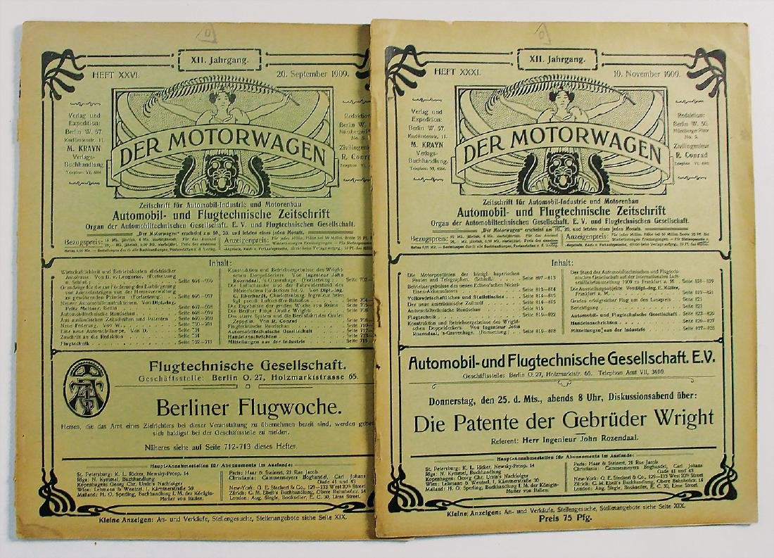 DER MOTORWAGEN mixed lot of 2 issues by the magazine