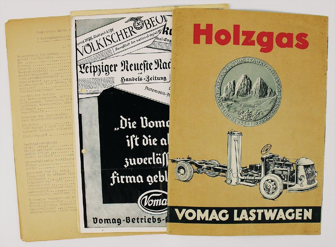 VOMAG fold-out brochure wood gas Vomag trucks, fold-out